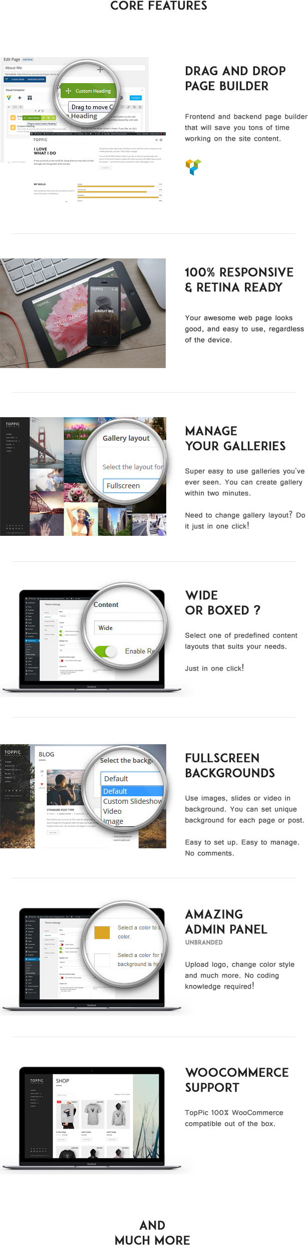Photography Theme Features