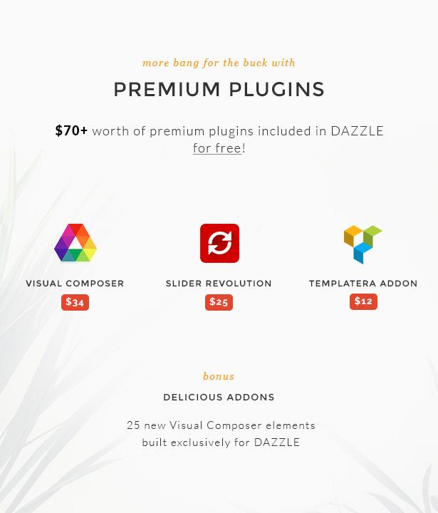 Dazzle Premium Plugins included for free