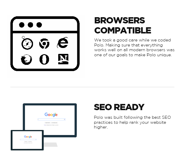 BROWSERS COMPATIBLE, SEO READY