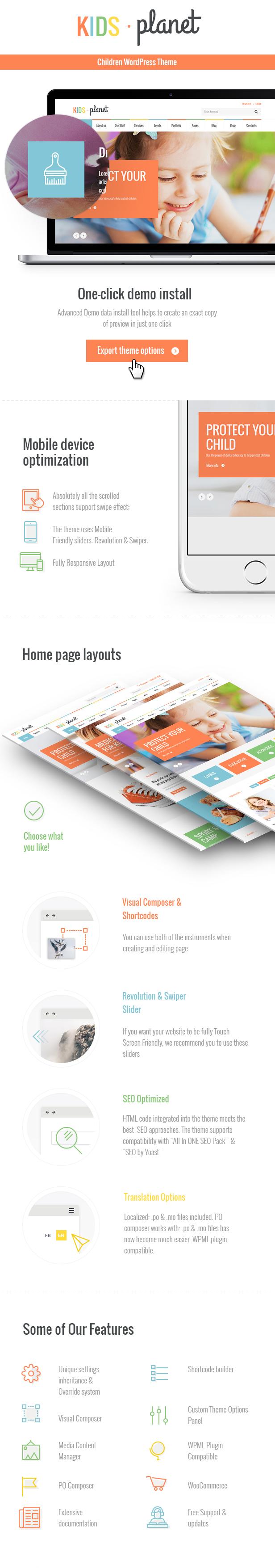 Kids Planet - A Multipurpose Children WordPress Theme features