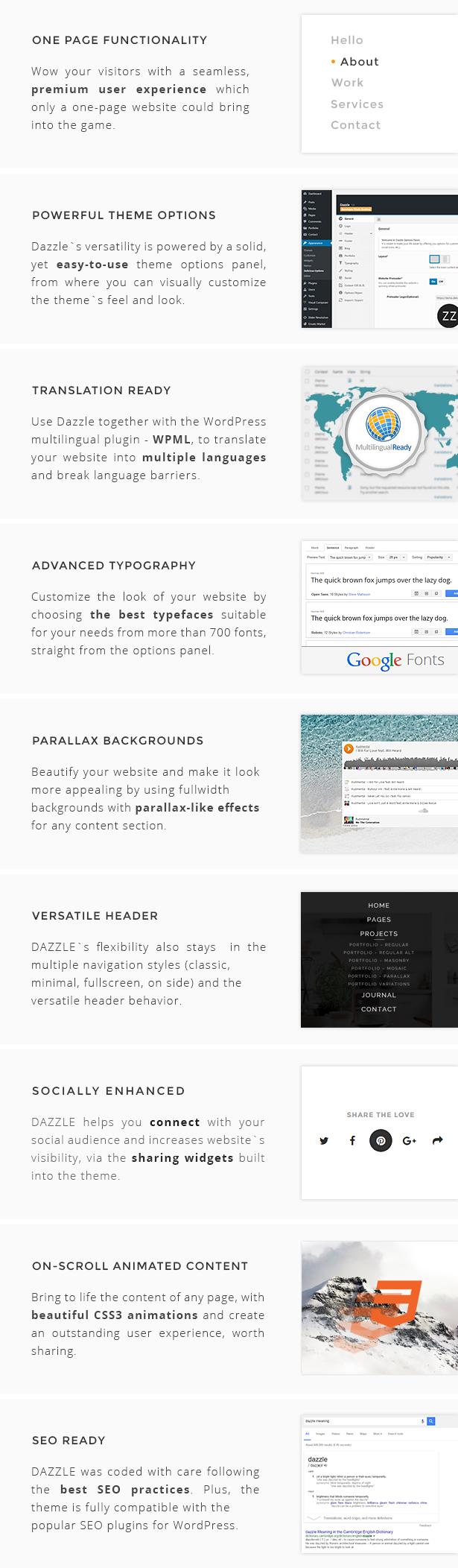 Dazzle WordPress Theme features