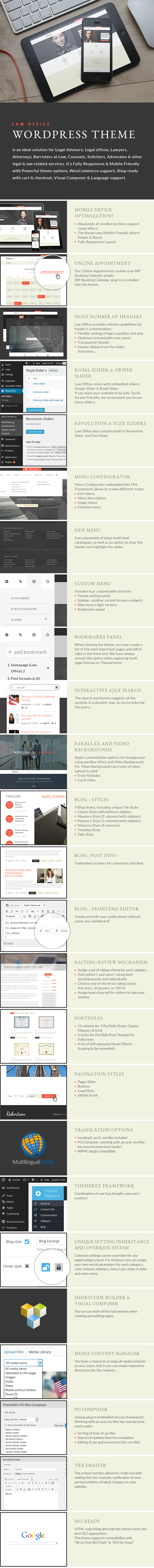 Law Office - Attorney & Legal Adviser WordPress Theme features