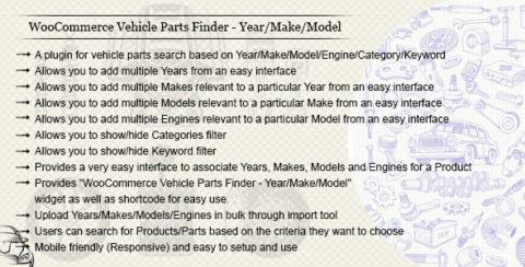 WooCommerce Vehicle Parts Finder - Year/Make/Model/Engine/Category/Keyword