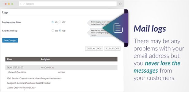 Slide Out Contact Form Mail Logs