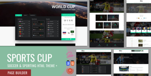 Sports Cup, Soccer & Sporting Html Theme with Bootstrap 4 + Page Builder